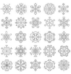 Snowflake set in entangle style 25 original snow vector