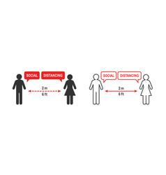 Social distancing sign 2 meter or 6 feet distance vector