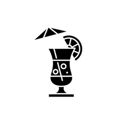 summer cocktail black icon sign on vector image