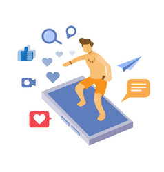 surfing in social media network mobile phone vector image