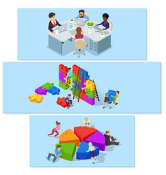 Team building banner horizontal set isometric vector