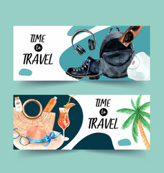 Tourism day banner design with beach bag boots vector