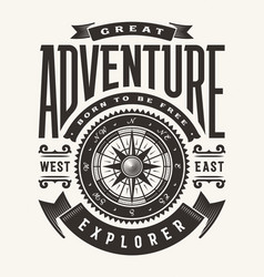 Vintage great adventure typography vector