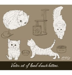 Vintage set with cute kittens vector