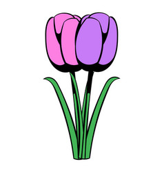 violet tulip icon cartoon vector image