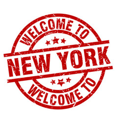 Welcome to new york red stamp vector