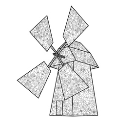 Wind mill coloring book for adults vector