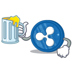 With juice ripple coin character cartoon vector