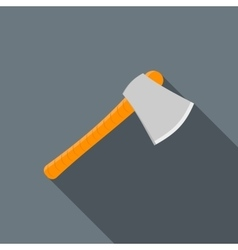 Wooden axe icon flat style vector image