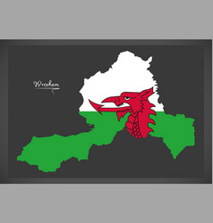 Wrexham wales map with welsh national flag vector