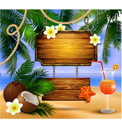 beautiful beach view with wooden board vector image