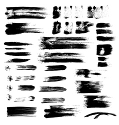 Black paint brush strokes collection vector image vector image