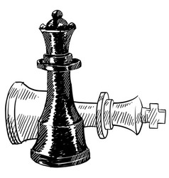 doodle chess checkmate king queen vector image vector image