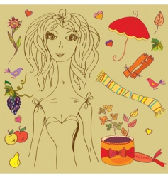 girl with fashion autumn vector image