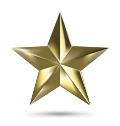 Isolated Matallic Golden Star on White background vector image vector image