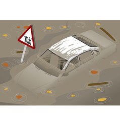 Isometric White Car Flooden in Two Positions vector image