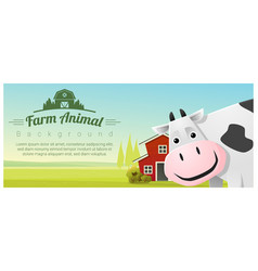 rural landscape background with cow vector image