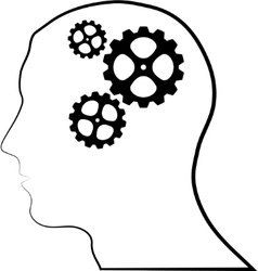 Brain of gears silhouette vector image