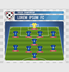 football or soccer starting lineup with editable vector image vector image