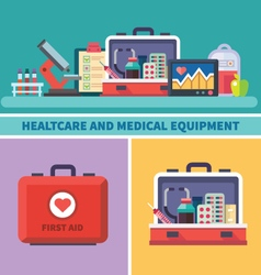 Health care and medical equipment vector image vector image