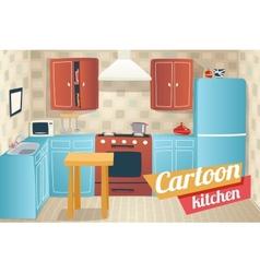 Kitchen Furniture Accessories Interior Cartoon vector image