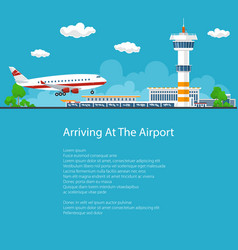 passenger plane comes in to land flyer design vector image vector image