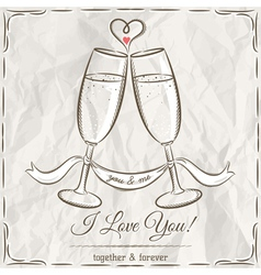 romantic card with two glass of champagne and wish vector image