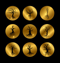 black trees silhouette icons set with shiny golden vector image vector image