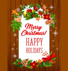 merry christmas holiday greeting card vector image vector image