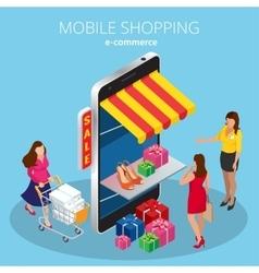 Mobile shopping e-commerce online store flat 3d vector image vector image