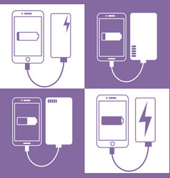 smartphone connected to power bank vector image vector image