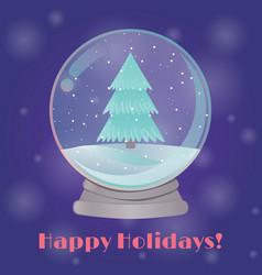 snow globe with a fir tree inside vector image