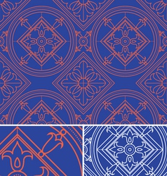vintage abstract floral blue seamless pattern th vector image vector image