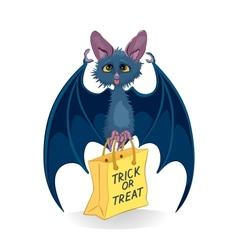 Cartoon bat with Halloween bag Trick or Treat vector image vector image