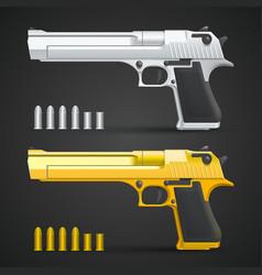 gold and silver gun vector image