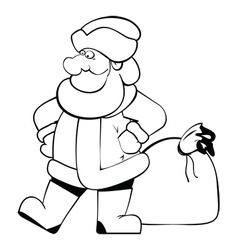 SantaClaus isolated BW vector image