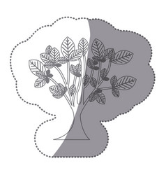 Sticker gray color leafy tree with trunk nature vector