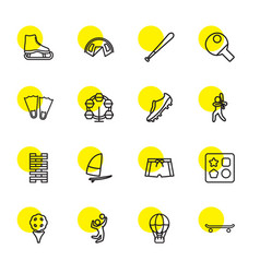 16 recreation icons vector image