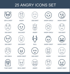 25 angry icons vector