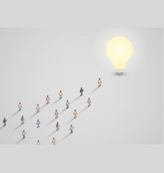 a group of people walking to a light bulb vector image