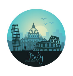 abstract italian cityscape with silhouettes of vector image