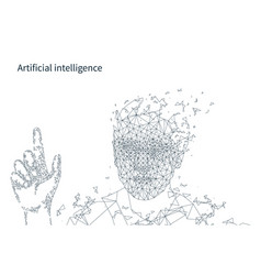 Artificial intelligence person hand poster vector
