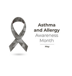 Asthma and allergy awareness month ribbon concept vector