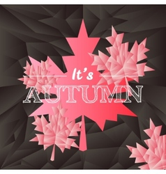 autumn typography mosaic poster in black and pink vector image
