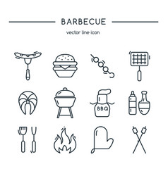 Barbeque icons line set vector