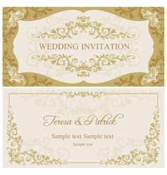 Baroque wedding invitation gold and beige vector