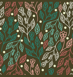 Beautiful floral seamless pattern with leaves vector