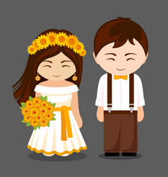 Beautiful newlywed couple vector