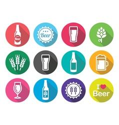 beer flat design round icons set - bottle glass vector image
