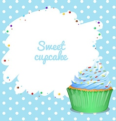 Blue frame with cupcak background vector image